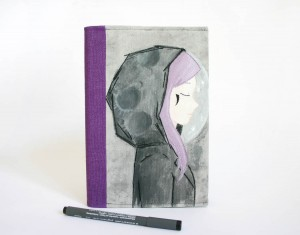 c004-notebook cover moon purple girl